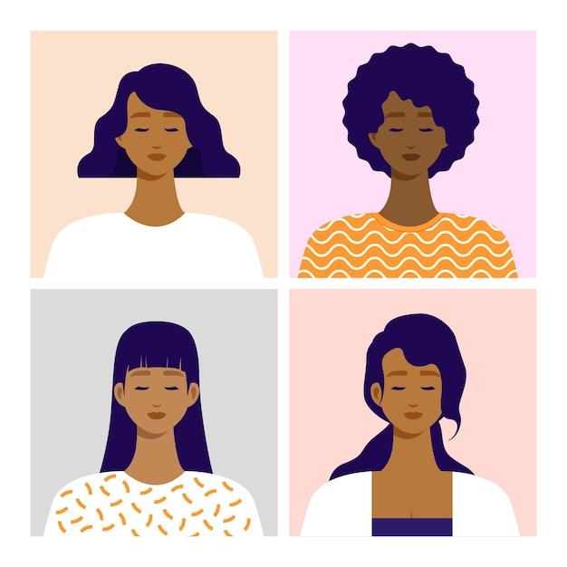 Портрет афро-американского переднего угла обзора. плоские векторные иллюстрации. Premium векторы