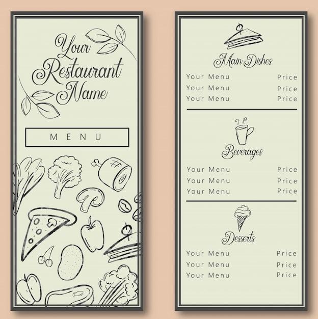 Potrait restaurant menu template Premium Vector