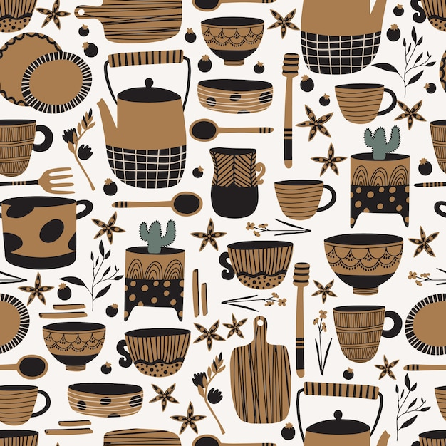 Pottery and ceramics seamless pattern Premium Vector