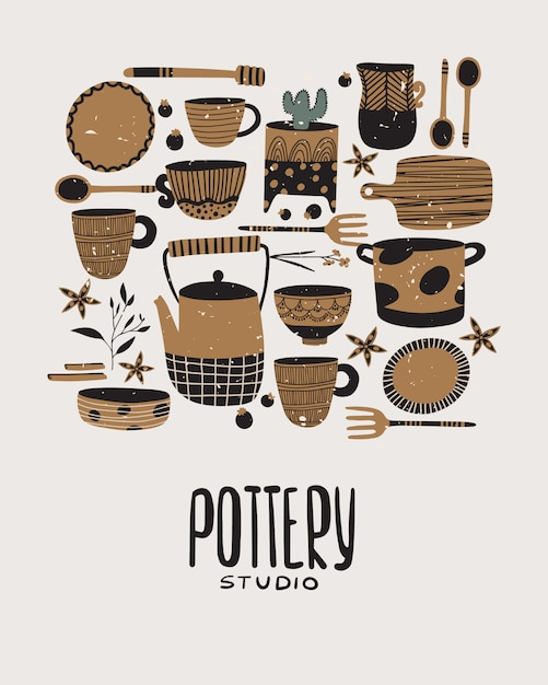 Pottery and ceramics Premium Vector