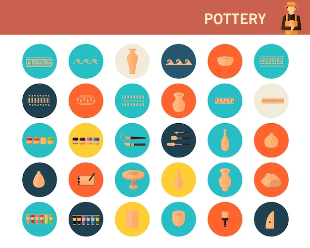 Pottery concept flat icons. Premium Vector