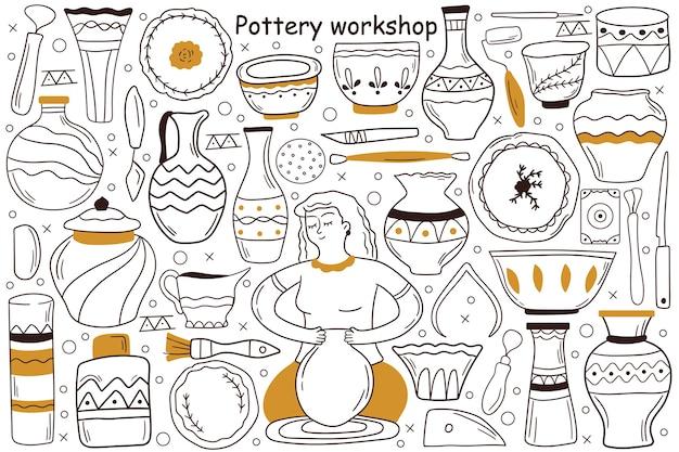 Pottery workshop doodle set Premium Vector