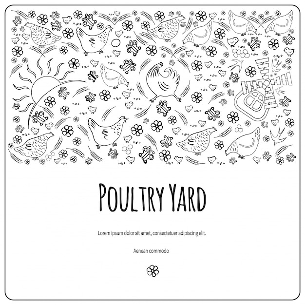 Poultry yard Premium Vector
