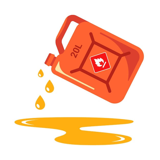 Pour gasoline from the can. harmful puddle of petroleum products. Premium Vector
