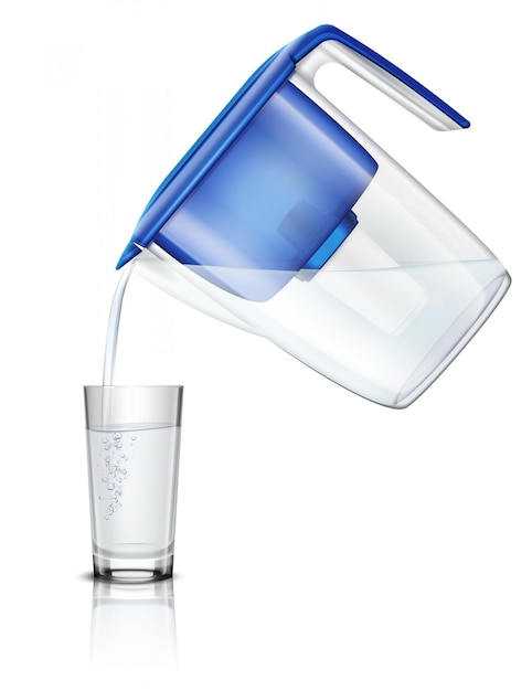 Pouring water in glass out household filter pitcher through carbon cartridge realistic composition purification process Free Vector