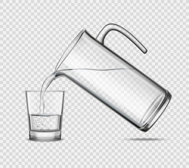 Pouring water in glass on transparent background Free Vector