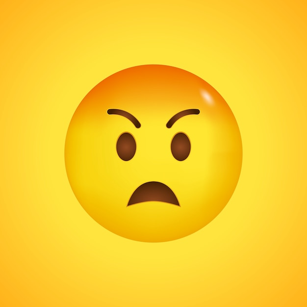 Pouting emoji kawaii face. hate and rage. angry emoji with red face. big smile in 3d. Premium Vector