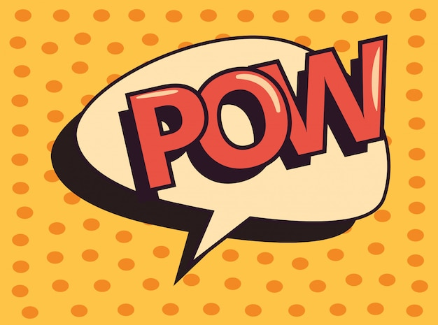 Pow comic speech bubble pop art dots background Premium Vector