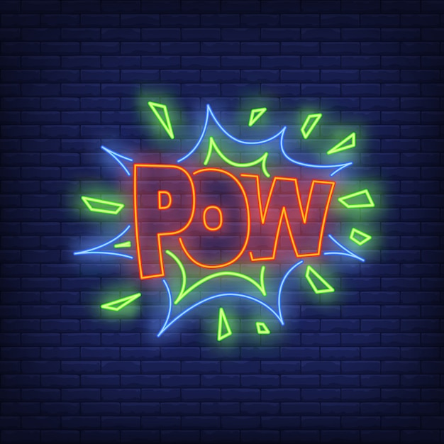 Pow lettering neon sign Free Vector
