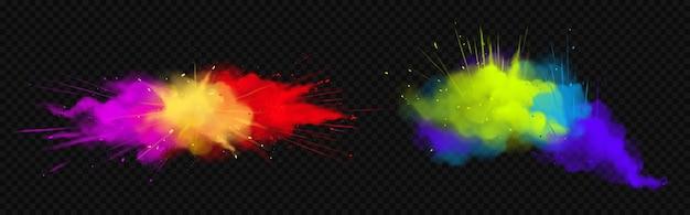 Powder holi dipinge nuvole colorate o esplosioni, schizzi di inchiostro, colorante vibrante decorativo per festival isolato su sfondo trasparente, tradizionale festa indiana. illustrazione 3d realistica Vettore gratuito