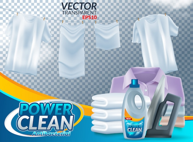 Powder laundry detergent advertising poster. Premium Vector