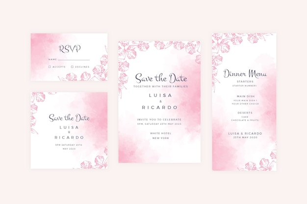 Powder pastel wedding stationery collection Free Vector