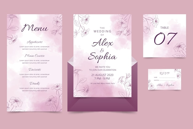 Powder pastel wedding stationery Free Vector