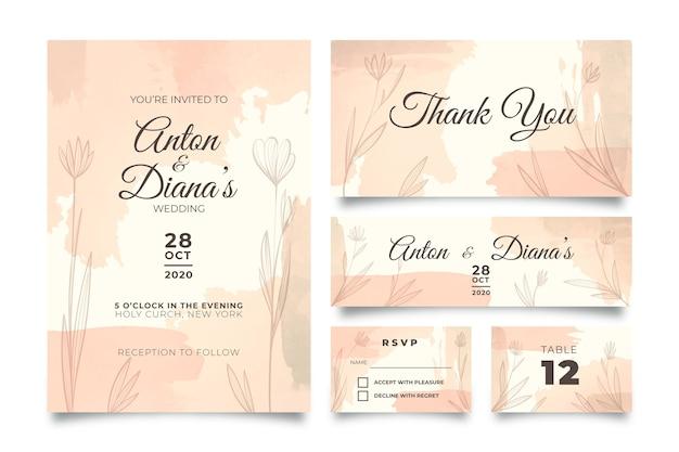 Powder pastel wedding stationery Free Vector