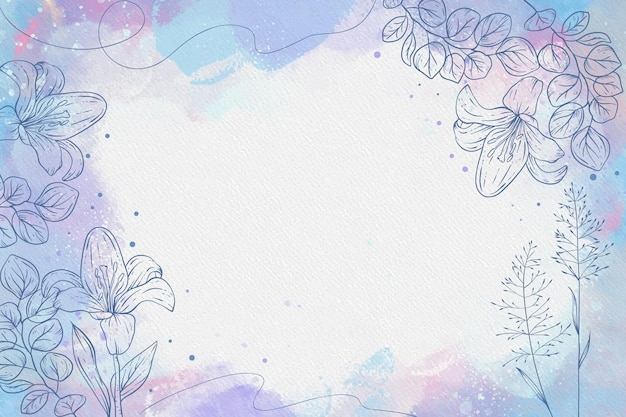 Powder pastel with hand drawn flowers background Free Vector