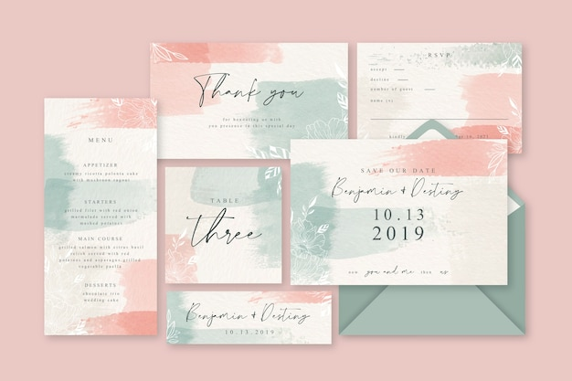 Powder pink pastel wedding stationery Free Vector