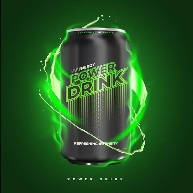 힘과 상쾌한 에너지 음료 제품 광고 무료 벡터