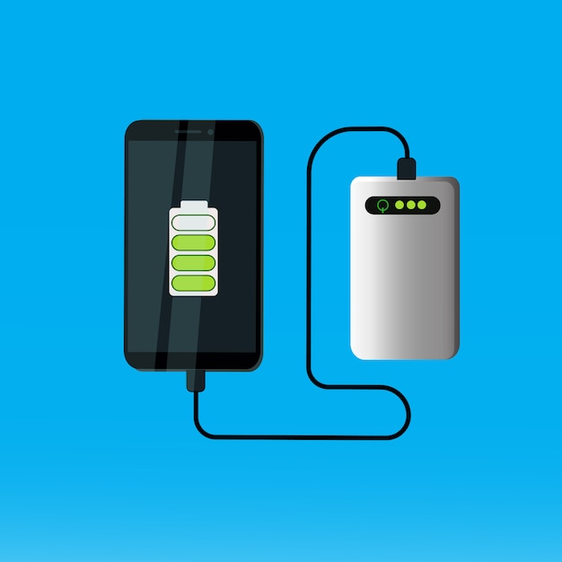 Power bank charging smart phone portable mobile battery concept Premium Vector
