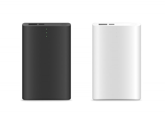 Power bank isolated. black and white color. realistic.vector illustration Premium Vector