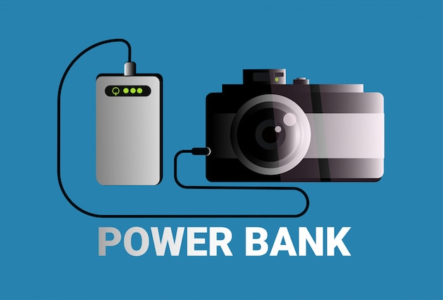 Power banks charging camera portable mobile battery charger concept Premium Vector