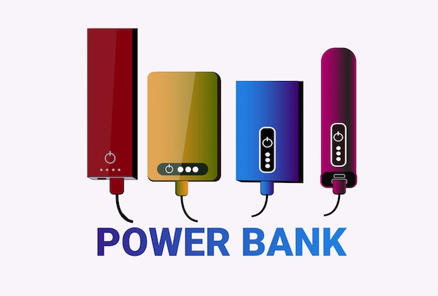 Power banks set colorful chargers collection portable battery device Premium Vector