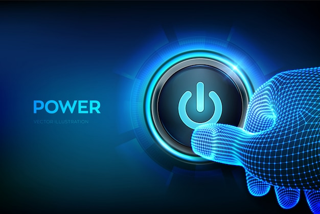 Power button. closeup finger about to press a power button. just push the button. hardware equipment .  illustration. Premium Vector