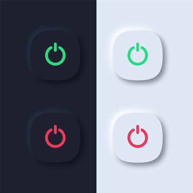 黒と白の背景上の電源ボタン Premiumベクター