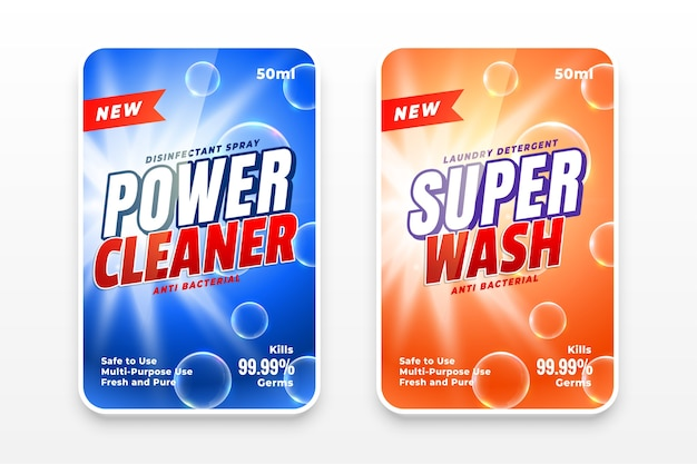 Power cleaner and super wash disinfectant labels Free Vector