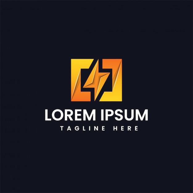Power energy ligthning logo Premium Vector
