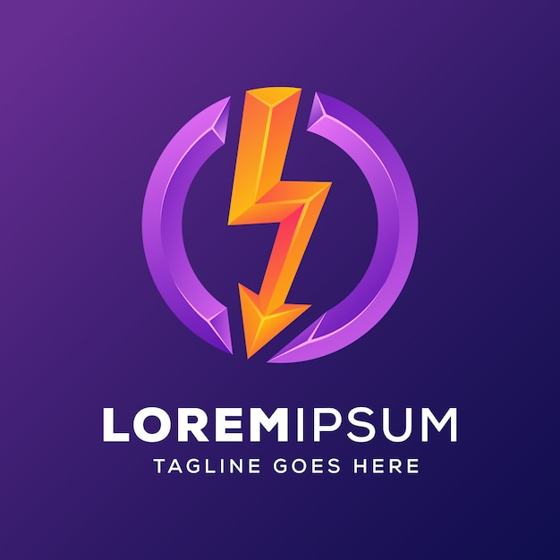 Power energy with arrow logo Premium Vector
