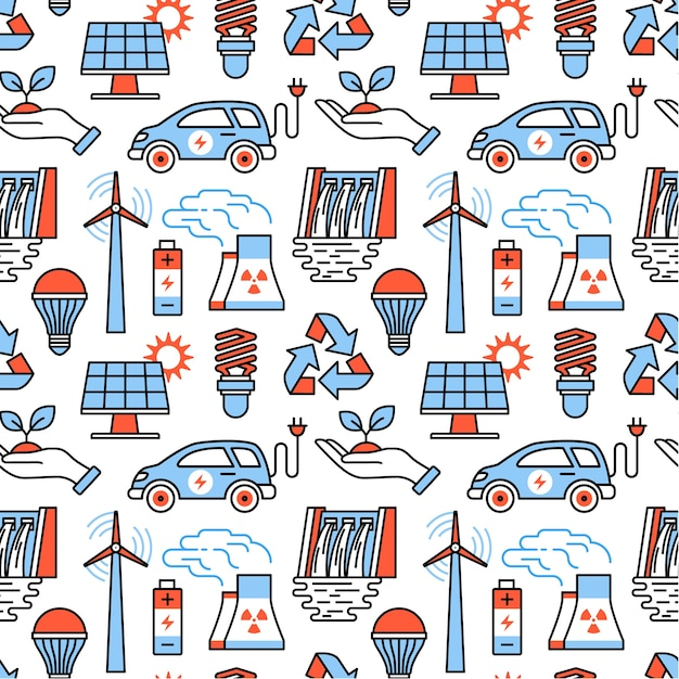 Power generation and ecologic energy icons Free Vector