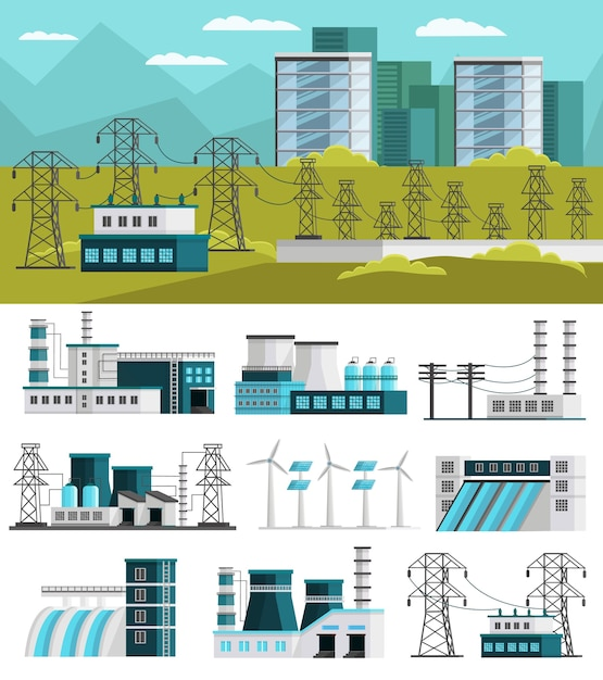 Ортогональная концепция производства электроэнергии Бесплатные векторы