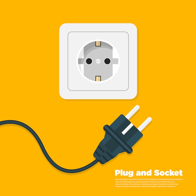 Power outlet flat icon Premium Vector