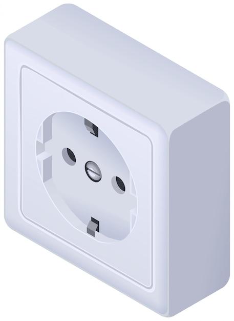 Power outlet wall socket european standard isometric Premium Vector