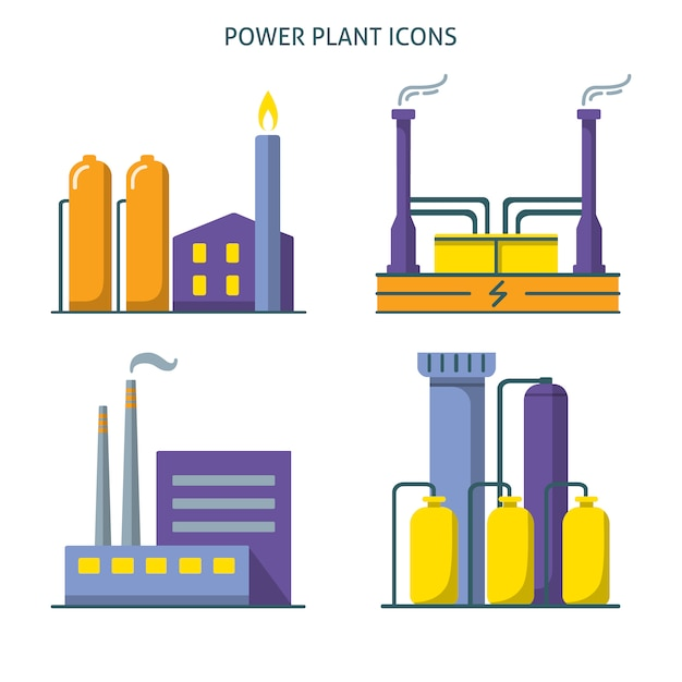 Power plant icons collection in flat style Premium Vector