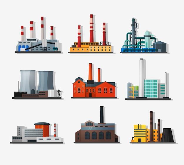 フラットスタイルと長い影の発電所。原子力発電所と化学プラント、古い工場と近代的なプラント。詳細なフラットスタイル。 Premiumベクター