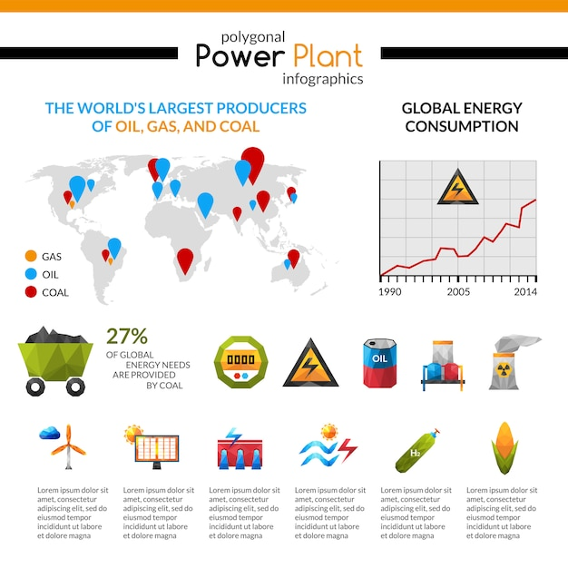 Power plant and mineral extraction infographic Free Vector