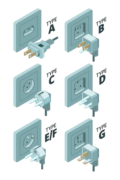 Power plug types. electricity energy box connector meter 3d isometric  illustrations Premium Vector