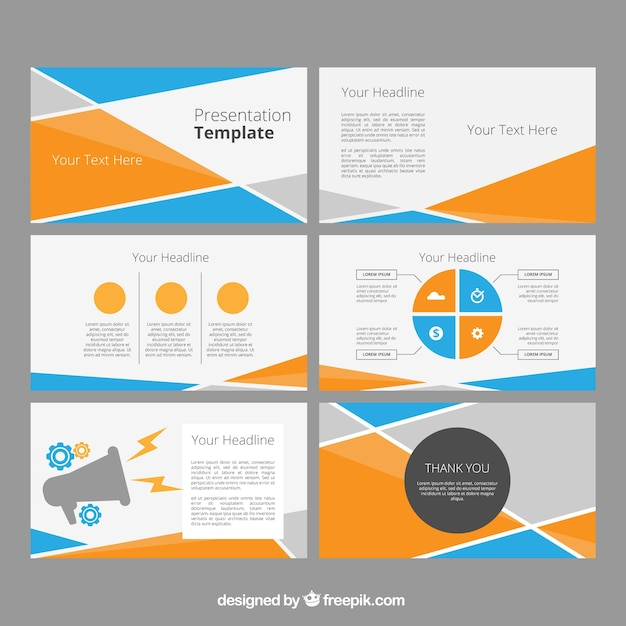 Power point template with abstract shapes Free Vector