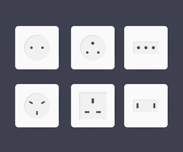 Power socket icon set Premium Vector