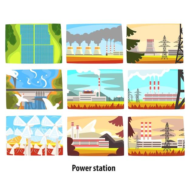 発電所セット、環境に配慮した低排出ゼロ発電所、エネルギー生産プラントカラフルなイラスト Premiumベクター
