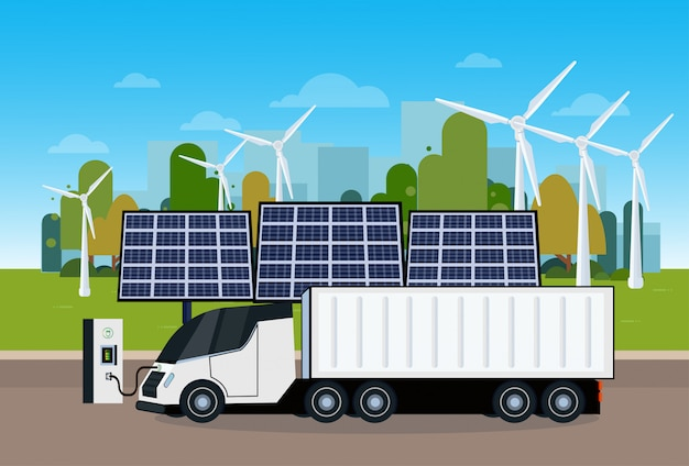 Power station with trailer truck charging over wind trurbines and solar panel batteries eco friendly cargo electric vechicle concept Premium Vector