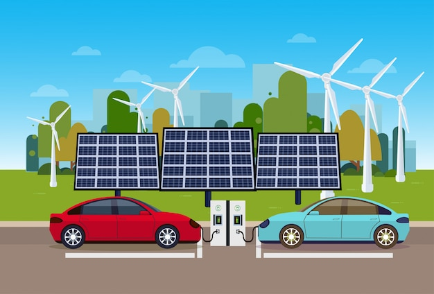 Power station with vechicles charging over wind trurbines and solar panel batteries eco friendly electric car concept Premium Vector