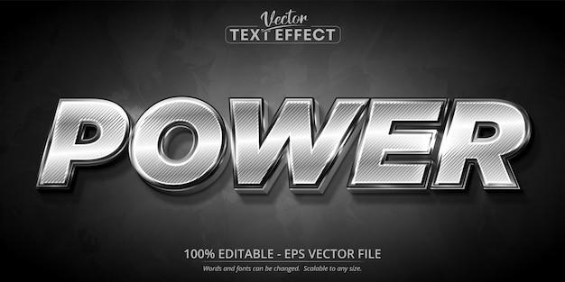 파워 텍스트, 반짝이는 은색 스타일 편집 가능한 텍스트 효과 프리미엄 벡터