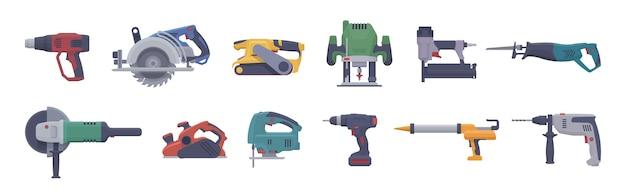 Набор электроинструментов. изолированные электрические инструменты. Premium векторы