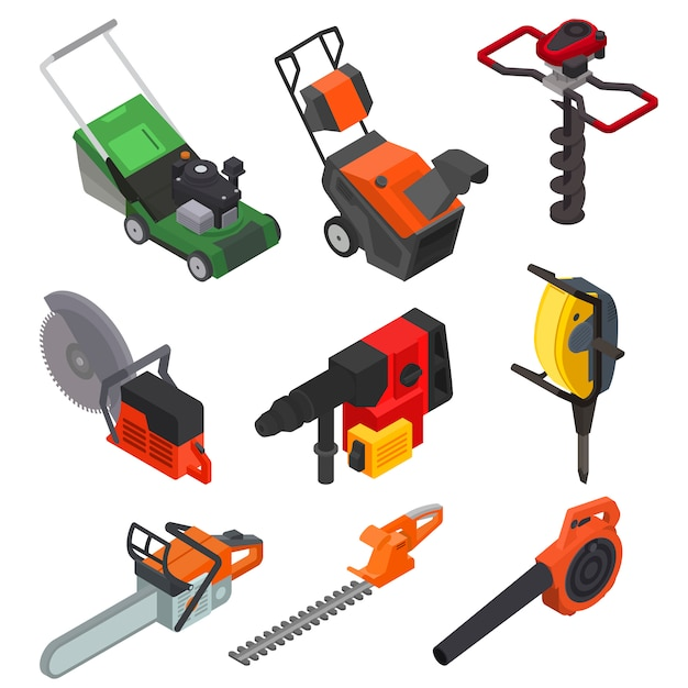 Power tools vector electric construction equipment circular-saw lawn mower power-planer isometric set of electric jig-saw grass-cutter isolated Premium Vector