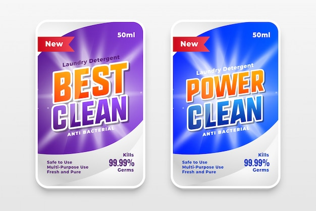 Power wash and cleaner label template design Free Vector