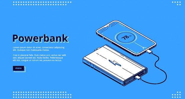 Powerbank smartphone charging isometric landing Free Vector