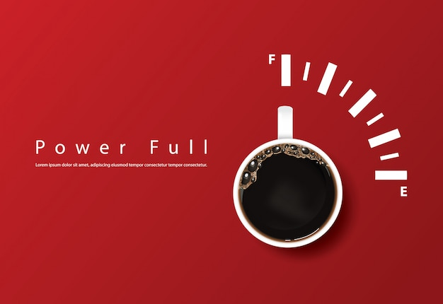 Powerful coffee cup, template Free Vector