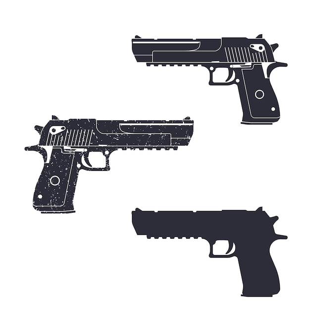 Powerful pistol, gun silhouette, pistol illustration, handgun, Premium Vector